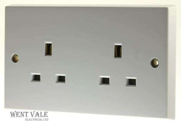 Volex - VX9200 - 13a White Moulded Two Gang Unswitched Single Socket Outlet